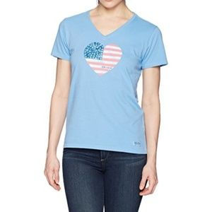 Life Is Good America Love Flag Heart SHIRT Top